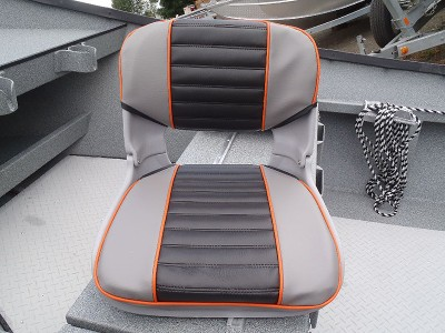 Smoke & Black with Orange Piping Seat Pad