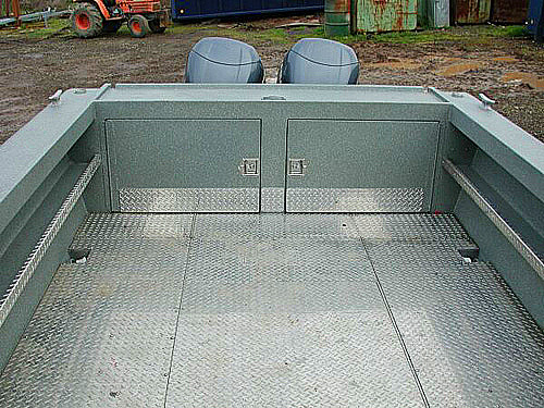 Transom Storage with In-Floor Fish Box