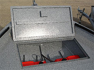 Power Boat Tray In Bow For Portable Fuel Tanks