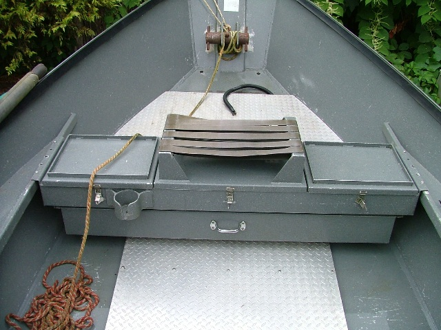 Oarsman seat with fish box koffler boats for Fish box for boat